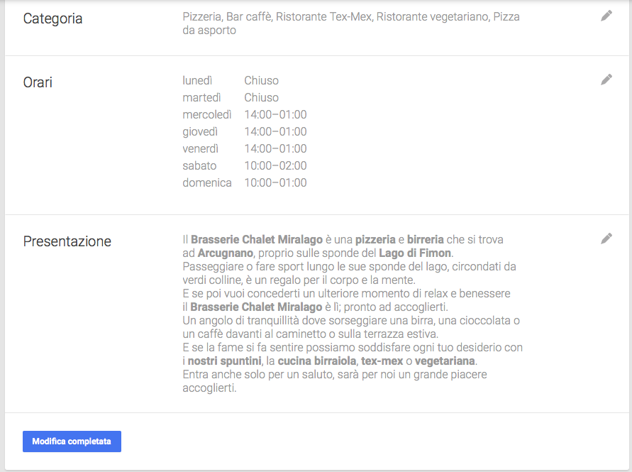 Modifica alla scheda Google My Business