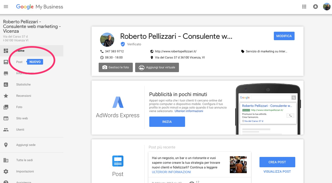 Pubblicare post di Google My Business